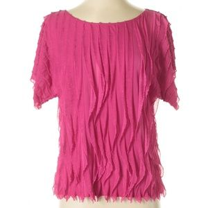 Sunny Leigh Hot Pink Short Sleeve Blouse Sz Small